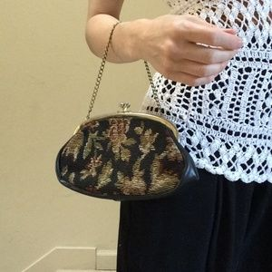 Vintage Bags - Mini Needlepoint Clutch Wallet or Chain Bag Roses